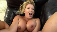 Allie Foster gets hammered and uses her big titties to titty fuck him