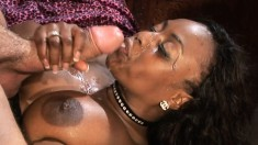 Voluptuous black milf Jada Fire gets double drilled by two white guys