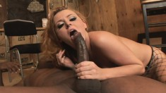 Horny Sophie Dee welcomes every inch of a huge black stick up her butt
