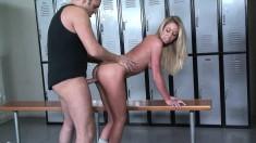 Dazzling Brynn Tyler gets her snatch drilled hard in the locker room