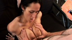 Busty babe Carmella Bing blows and titty fucks, then she gets oral