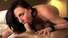 Lovely mature babe Karen seduces a young buck and sucks his dick