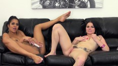 Mesmerizing lesbian friends Abby and Veruca make each other cum hard