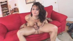 Tanned beauty gets bent over and fucker in her inviting bunghole