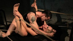 Pretty blonde Angelic Diamond is introduced to bondage and rough sex