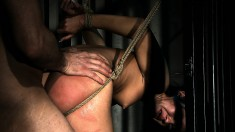 Held without bail in the dungeon she has to suck and fuck her way out