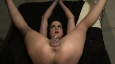 Slender brunette beauty brings her wild bondage fantasies to fruition