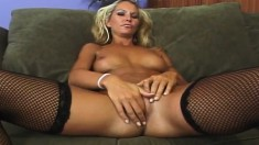 Elegant blonde in stockings has a juicy peach craving for black meat