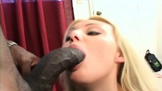 Voluptuous blonde Sheridan Lee seduces a dark stud to drill her holes