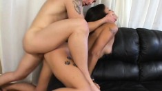 Brunette with a nice ass eats his meat and then bounces all over it