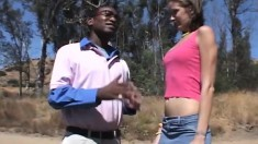 Skinny brunette meets a black dude for intense oral and screwing