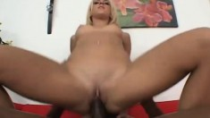 Blonde bimbo Jada gets her pussy plowed by a hung black dude