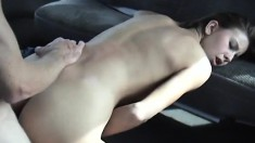 Beautiful girl with amazing oral skills gets pounded in the back seat