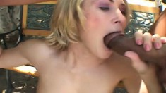 Enticing blonde with perky boobs sucks and strokes three long pricks