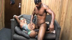 Body painted ebony nympho gets her snatch worked out by a black stud