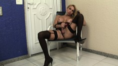 Hot shemale in lingerie Jackeline Abidala puts her big pole on display