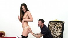 Striking brunette model Jenna gets her tight shaved slit pounded rough