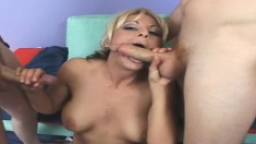 Lusty blonde Sindy Lange's tight pussy and ass get drilled in a double penetration