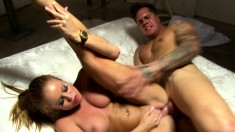 Tattooed stud takes a toy up his ass and then fucks a bodacious blonde