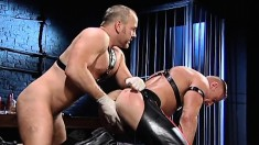 Magnificent hunk receives his partner's fist deep inside his anal hole