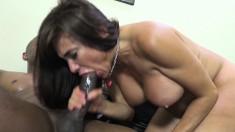 Voluptuous brunette cougar Shelia Marie orgasms on a huge black dick