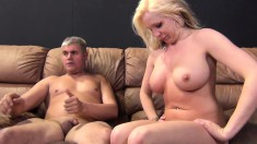 Buxom blonde Eden Adams enjoys every thrust of hard meat in her pussy
