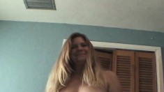 Big breasted blonde hooker Sandy worships a throbbing shaft POV style
