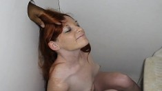 Petite Redhead With Tiny Tits Blows Off Strangers While Getting Fucked