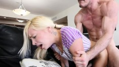 Pigtailed Blonde Teen Pleases Herself And Then Wildly Fucks A Big Dick