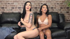 Lesbian hotties pose in lingerie before they eat and toy pussies