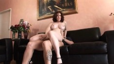 Hairy Mature Redhead Riding Cock