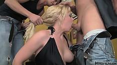 Bisexual threesome blowjob scene with Heidi Mayne and his slutty husband