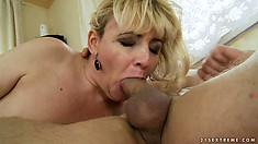 The Blonde Bounces On His Cock With Passion And Finishes Him Off With Her Lips