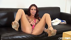 Monique Alexander gropes her tits after she's done masturbating