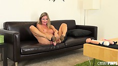 Angel of masturbation Amber Michaels sticks her fingers in wet spot between legs