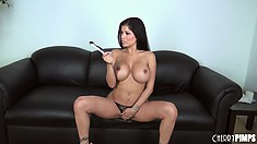 Lovely Latina Alexis Amore plays pierced pussy games with her smooth glass dildo