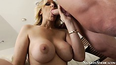 Julia Ann has her mouth filled with big dick and ass rimmed sweetly