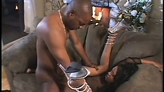 The Ebony Cutie Spreads Her Legs And The Black Stud Fills Her Cunt With His Huge Rod