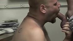 Horny Bad Boy Sucks On A Guy's Rock-hard Jackhammer In The Office