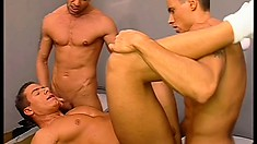 Gay fuck fest in prison banging ass with the guard and prisoners