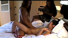 Exotic Asian chick begs her friends to finger her smooth cooch