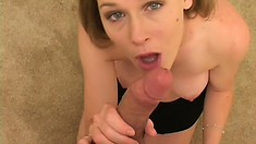 Cute blonde gets down on her knees and delivers an excellent blowjob