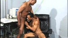 Sexy ebony guy gets his butt hole pounded deep by his black boyfriend