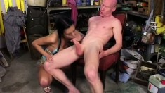 Busty amateur Timi sucks his cock in between getting her cunt nailed