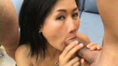 Tiny Asian Stephy Thai gets two big peckers to please in a threesome