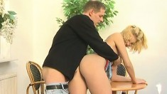 A hot blonde bares her great rack as her wet slit gets punished