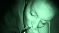 Enthusiastic young blonde blows and fucks a hard stick in a dark room