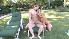 Teen beauties Georgia Peach and Shawna Lenee share an old man's dick