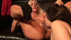 Busty blonde slut gets her cunt stuffed by a fat girl's strap-on