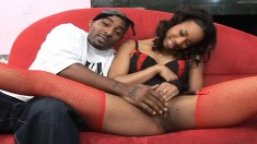 She chews on a big black, gets banged and shows her cream pie hole